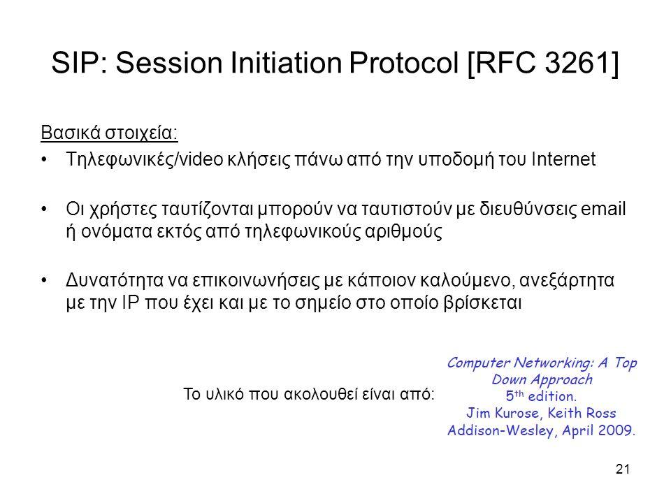SIP: Session Initiation Protocol [RFC 3261] Βασικά στοιχεία: Τηλεφωνικές/video κλήσεις πάνω από την υποδομή του Internet Οι χρήστες ταυτίζονται μπορού