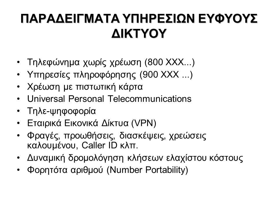 ΙΣΤΟΡΙΚΟ Εξέλιξη τηλεφωνίας POTS (Plain Old Telephone Service), PSTN (Public Switched Telephone Network), ISDN (Integrated Services Digital Network), GSM/GPRS (κινητή τηλεφωνία 2 ας γενιάς) –SPC Stored Program Control – 1960/70 –CCS Common Channel Signaling Network Σηματοδοσία – πριν την εγκατάσταση κλήσης (call setup) Σηματοδοσία ξεχωριστή από την κλήση SS7 – 1970/80 –IN/1 (Intelligent Network) – 1980/1990 Service Control Point (SCP) – εξωτερικές βάσεις δεδομένων (π.χ.