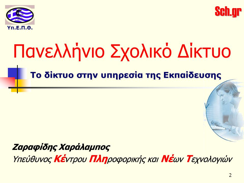 Sch.gr Υπ.Ε.Π.Θ. 2 Ζαραφίδης Χαράλαμπος Υπεύθυνος Κέ ντρου Πλη ροφορικής και Νέ ων Τ εχνολογιών Πανελλήνιο Σχολικό Δίκτυο Το δίκτυο στην υπηρεσία της