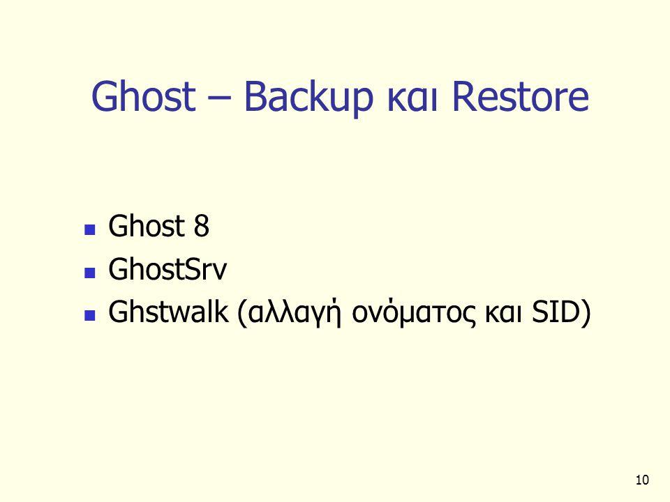 10 Ghost – Backup και Restore Ghost 8 GhostSrv Ghstwalk (αλλαγή ονόματος και SID)