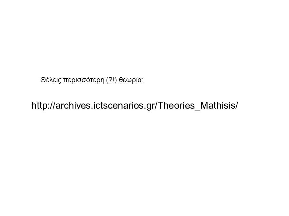 http://archives.ictscenarios.gr/Theories_Mathisis/ Θέλεις περισσότερη (?!) θεωρία: