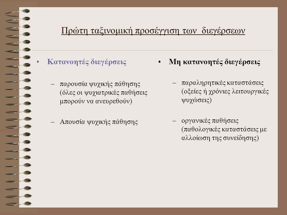 Πρώτη ταξινομική προσέγγιση των διεγέρσεων Κατανοητές διεγέρσεις –παρουσία ψυχικής πάθησης (όλες οι ψυχιατρικές παθήσεις μπορούν να ανευρεθούν) –Απουσία ψυχικής πάθησης Μη κατανοητές διεγέρσεις –παραληρητικές καταστάσεις (οξείες ή χρόνιες λειτουργικές ψυχώσεις) –οργανικές παθήσεις (παθολογικές καταστάσεις με αλλοίωση της συνείδησης)