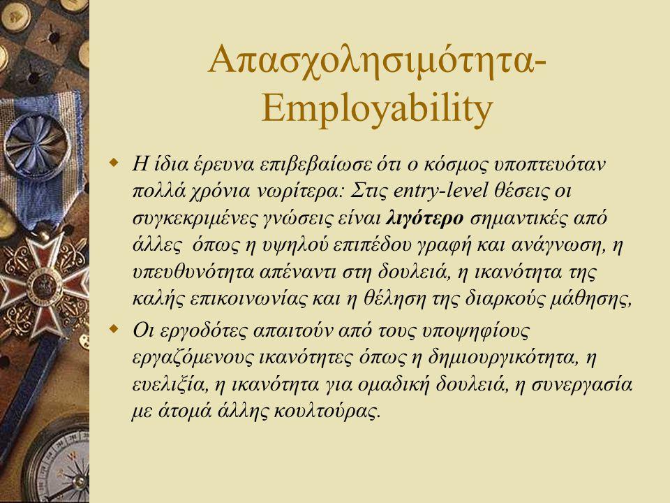 Απασχολησιμότητα- Employability  Η ίδια έρευνα επιβεβαίωσε ότι ο κόσμος υποπτευόταν πολλά χρόνια νωρίτερα: Στις entry-level θέσεις οι συγκεκριμένες γ