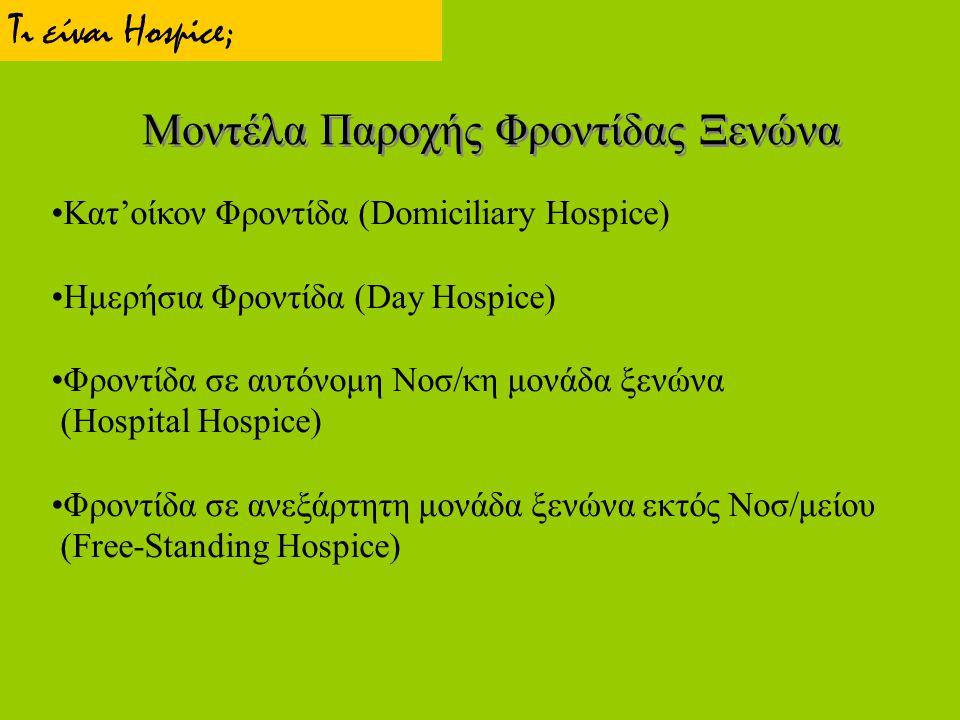 Μοντέλα Παροχής Φροντίδας Ξενώνα Κατ'οίκον Φροντίδα (Domiciliary Hospice) Ημερήσια Φροντίδα (Day Hospice) Φροντίδα σε αυτόνομη Νοσ/κη μονάδα ξενώνα (H