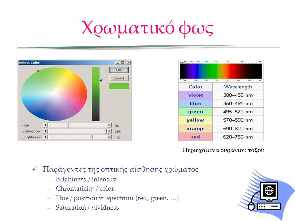 Παράγοντες της οπτικής αίσθησης χρώματος –Brightness / intensity –Chromaticity / color –Hue / position in spectrum (red, green, …) –Saturation / vivid