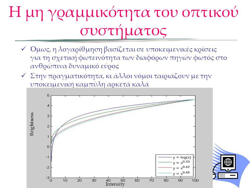 Όμως, η λογαρίθμηση βασίζεται σε υποκειμενικές κρίσεις για τη σχετική φωτεινότητα των διαφόρων πηγών φωτός στο ανθρώπινα δυναμικό εύρος Στην πραγματικ