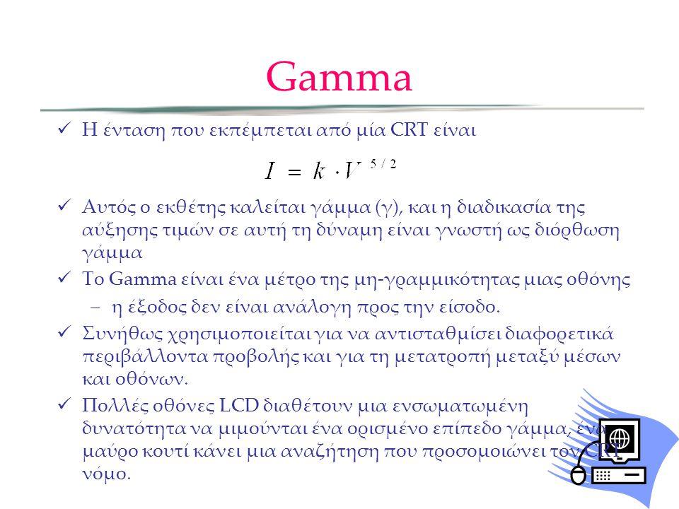 Gamma Η ένταση που εκπέμπεται από μία CRT είναι Αυτός ο εκθέτης καλείται γάμμα (γ), και η διαδικασία της αύξησης τιμών σε αυτή τη δύναμη είναι γνωστή