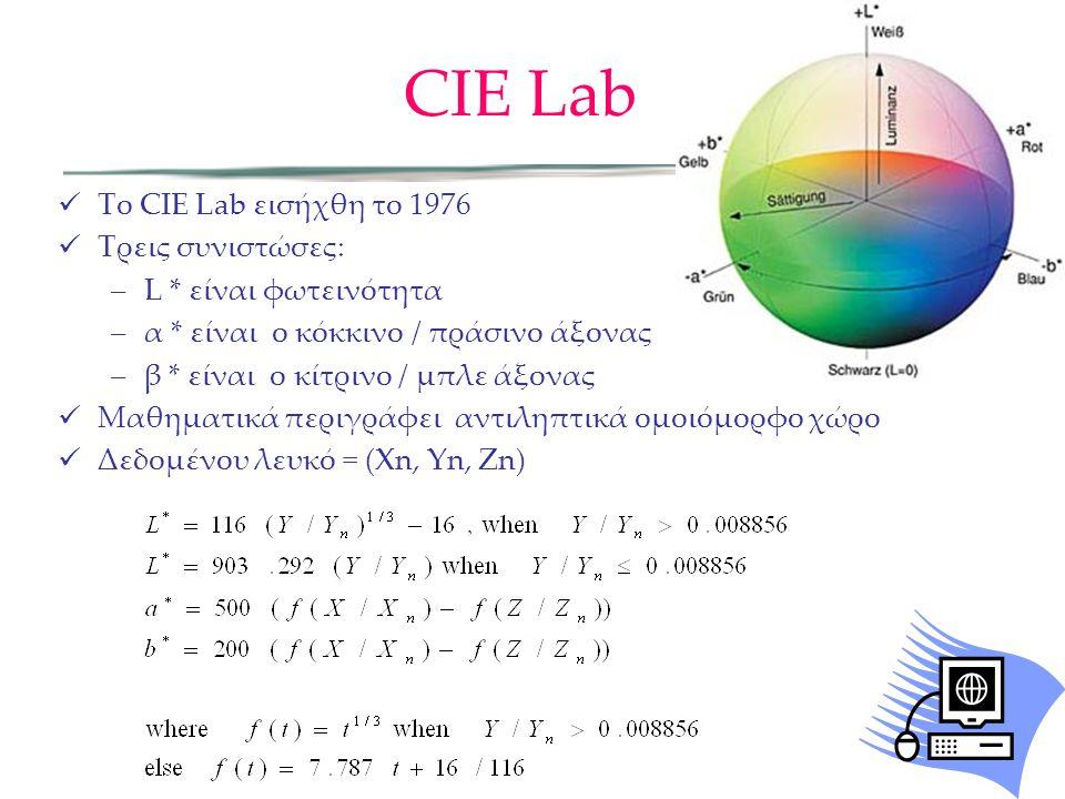 Το CIE Lab εισήχθη το 1976 Τρεις συνιστώσες: –L * είναι φωτεινότητα –α * είναι ο κόκκινο / πράσινο άξονας –β * είναι ο κίτρινο / μπλε άξονας Μαθηματικ
