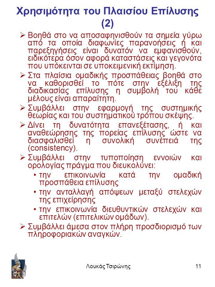 Λουκάς Τσιρώνης11 Χρησιμότητα του Πλαισίου Επίλυσης (2)  Βοηθά στο να αποσαφηνισθούν τα σημεία γύρω από τα οποία διαφωνίες παρανοήσεις ή και παρεξηγήσεις είναι δυνατόν να εμφανισθούν, ειδικότερα όσον αφορά καταστάσεις και γεγονότα που υπόκεινται σε υποκειμενική εκτίμηση.