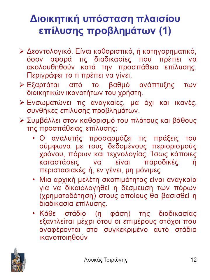 Λουκάς Τσιρώνης12 Διοικητική υπόσταση πλαισίου επίλυσης προβλημάτων (1)  Δεοντολογικό.
