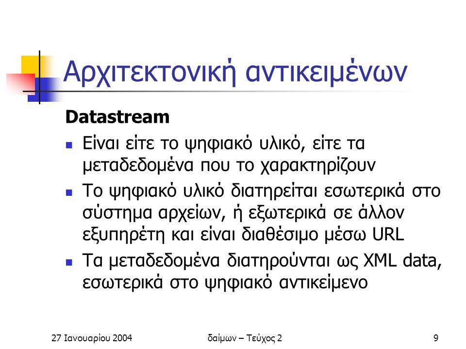 27 Ιανουαρίου 2004δαίμων – Τεύχος 210 Αρχιτεκτονική αντικειμένων Behavior objects Καθορίζουν τη συμπεριφορά των datastreams Behavior definitions (bdef) – Ορίζουν ένα αφηρημένο σύνολο μεθόδων για την παρουσίαση ή μετατροπή του datastream Behavior mechanisms (bmech) – Περιγράφουν την εφαρμογή που καθορίζει τη συμπεριφορά του datastream Αντιστοιχούν στα interface και implementation του αντικειμενοστραφή προγραμματισμού