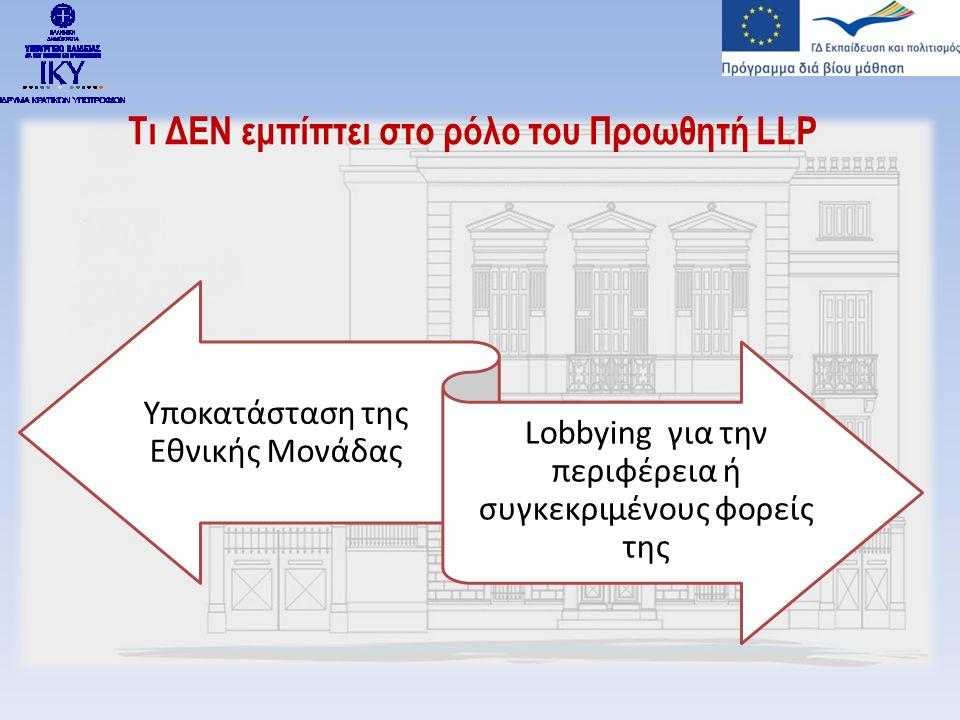 Τι ΔΕΝ εμπίπτει στο ρόλο του Προωθητή LLP Υποκατάσταση της Εθνικής Μονάδας Lobbying για την περιφέρεια ή συγκεκριμένους φορείς της