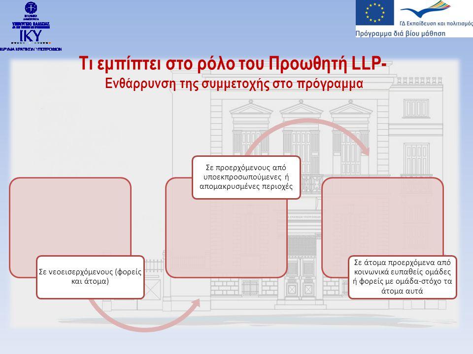Τι εμπίπτει στο ρόλο του Προωθητή LLP- Ενθάρρυνση της συμμετοχής στο πρόγραμμα Σε νεοεισερχόμενους (φορείς και άτομα) Σε προερχόμενους από υποεκπροσωπούμενες ή απομακρυσμένες περιοχές Σε άτομα προερχόμενα από κοινωνικά ευπαθείς ομάδες ή φορείς με ομάδα-στόχο τα άτομα αυτά