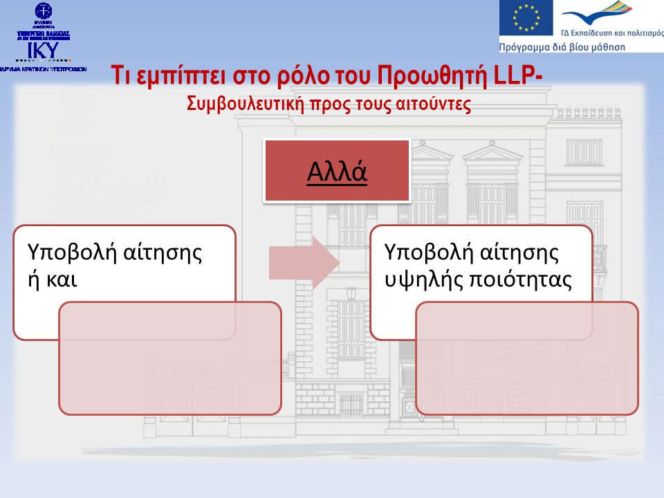 Τι εμπίπτει στο ρόλο του Προωθητή LLP- Συμβουλευτική προς τους αιτούντες Υποβολή αίτησης ή και Υποβολή αίτησης υψηλής ποιότητας Αλλά