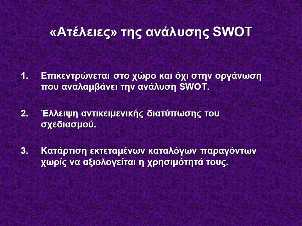 «Ατέλειες» της ανάλυσης SWOT 1.Επικεντρώνεται στο χώρο και όχι στην οργάνωση που αναλαμβάνει την ανάλυση SWOT.