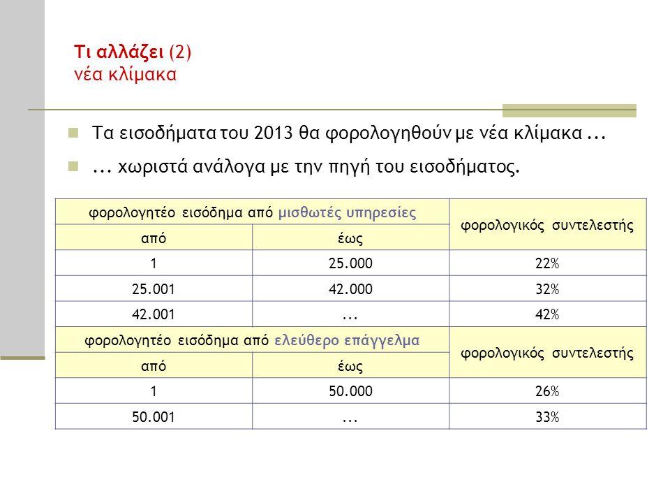 Τι αλλάζει (2) νέα κλίμακα Τα εισοδήματα του 2013 θα φορολογηθούν με νέα κλίμακα......