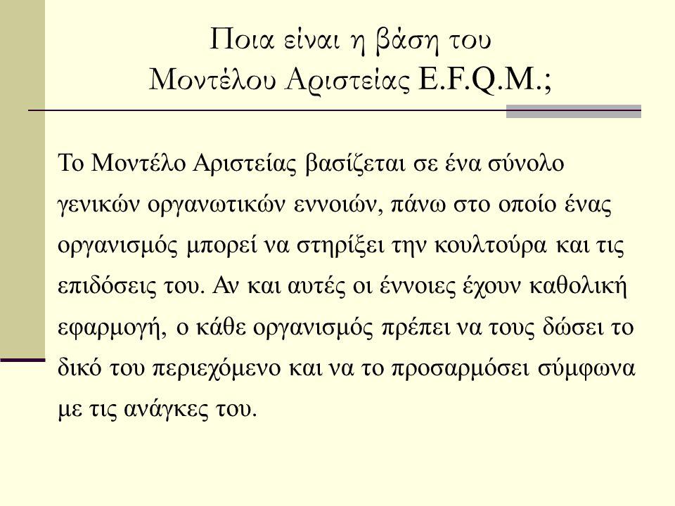 Ποια είναι η βάση του Μοντέλου Αριστείας E.F.Q.M.; Το Μοντέλο Αριστείας βασίζεται σε ένα σύνολο γενικών οργανωτικών εννοιών, πάνω στο οποίο ένας οργαν