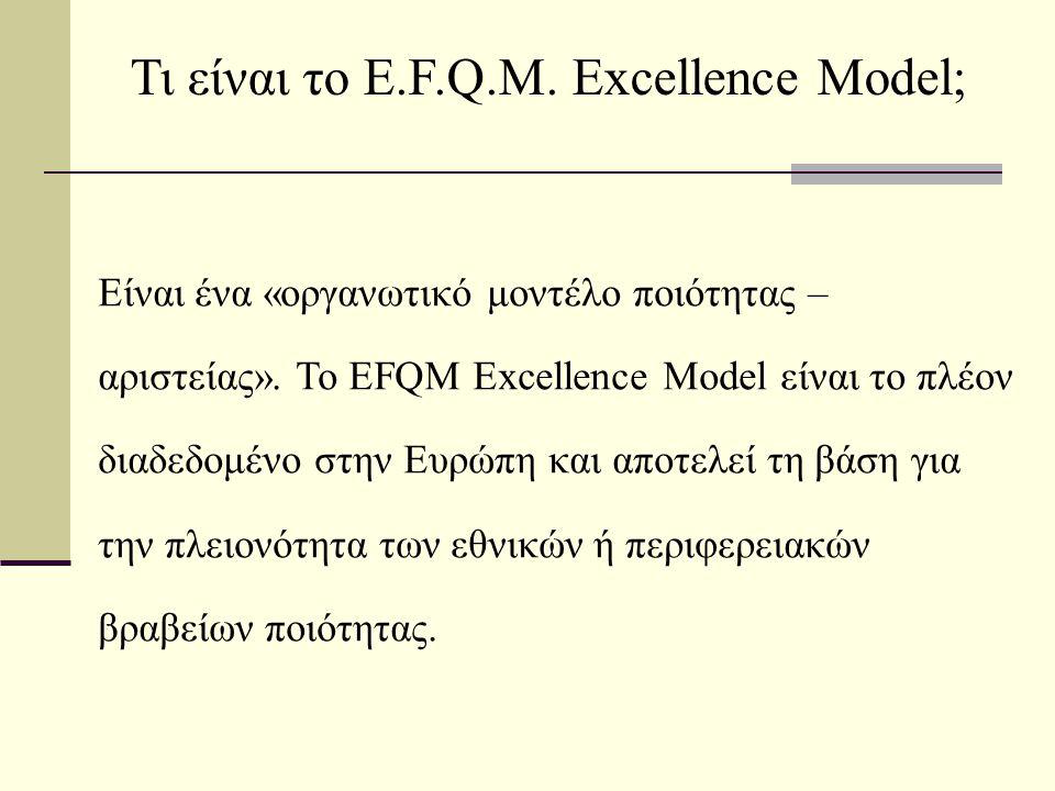 Τι είναι η διαδικασία αυτοαξιολόγησης, η οποία βασίζεται στο Μοντέλο Αριστείας του E.F.Q.M.;  Είναι μια περιεκτική, συστηματική και τακτική επισκόπηση (α) των δραστηριοτήτων που αναπτύσσει και (β) των αποτελεσμάτων που παράγει ένας Οργανισμός, χρησιμοποιώντας ως σημείο αναφοράς ένα συγκεκριμένο μοντέλο ποιότητας - αριστείας.