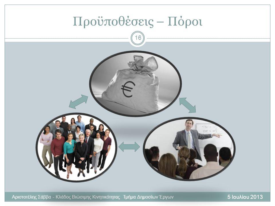 5 Ιουλίου 2013 Αριστοτέλης Σάββα - Κλάδος Βιώσιμης Κινητικότητας Τμήμα Δημοσίων Έργων 16 Προϋποθέσεις – Πόροι