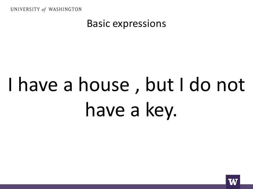 Basic expressions I have a house, but I do not have a key.