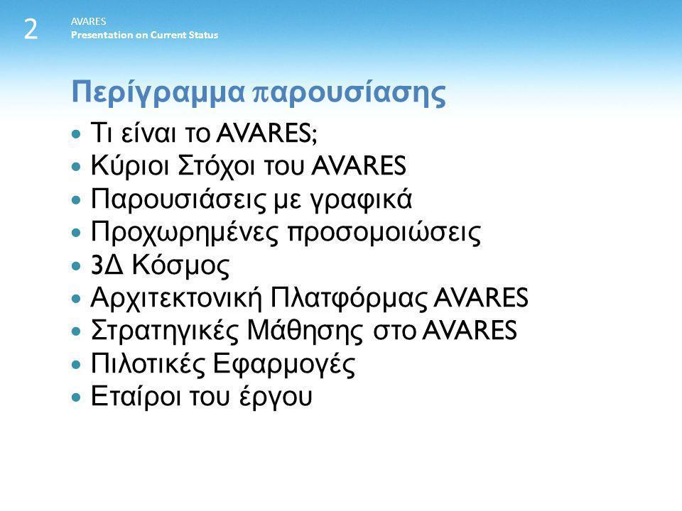 Περίγραμμα π αρουσίασης AVARES Presentation on Current Status 2 Τι είναι το AVARES; Κύριοι Στόχοι του AVARES Παρουσιάσεις με γραφικά Προχωρημένες π ροσομοιώσεις 3 Δ Κόσμος Αρχιτεκτονική Πλατφόρμας AVARES Στρατηγικές Μάθησης στο AVARES Πιλοτικές Εφαρμογές Εταίροι του έργου