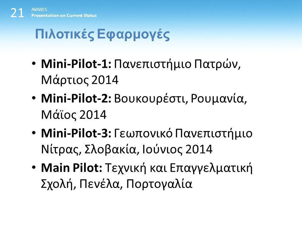 21 Πιλοτικές Εφαρμογές AVARES Presentation on Current Status Mini-Pilot-1: Πανεπιστήμιο Πατρών, Μάρτιος 2014 Mini-Pilot-2: Βουκουρέστι, Ρουμανία, Μάϊος 2014 Mini-Pilot-3: Γεωπονικό Πανεπιστήμιο Νίτρας, Σλοβακία, Ιούνιος 2014 Main Pilot: Τεχνική και Επαγγελματική Σχολή, Πενέλα, Πορτογαλία