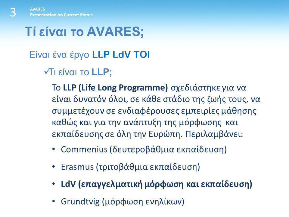 Τί είναι το AVARES; 3 AVARES Presentation on Current Status Είναι ένα έργο LLP LdV TOI Τι είναι το LLP; Το LLP (Life Long Programme) σχεδιάστηκε για να είναι δυνατόν όλοι, σε κάθε στάδιο της ζωής τους, να συμμετέχουν σε ενδιαφέρουσες εμπειρίες μάθησης καθώς και για την ανάπτυξη της μόρφωσης και εκπαίδευσης σε όλη την Ευρώπη.