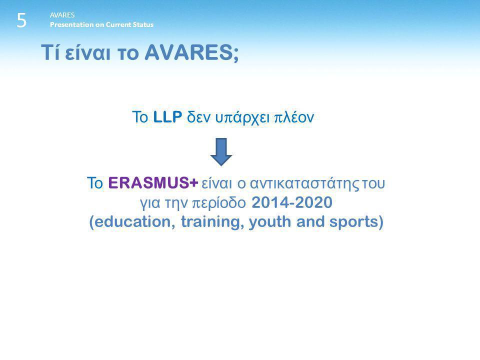 5 AVARES Presentation on Current Status Το LLP δεν υ π άρχει π λέον Το ERASMUS+ είναι ο αντικαταστάτης του για την π ερίοδο 2014-2020 (education, training, youth and sports) Τί είναι το AVARES;