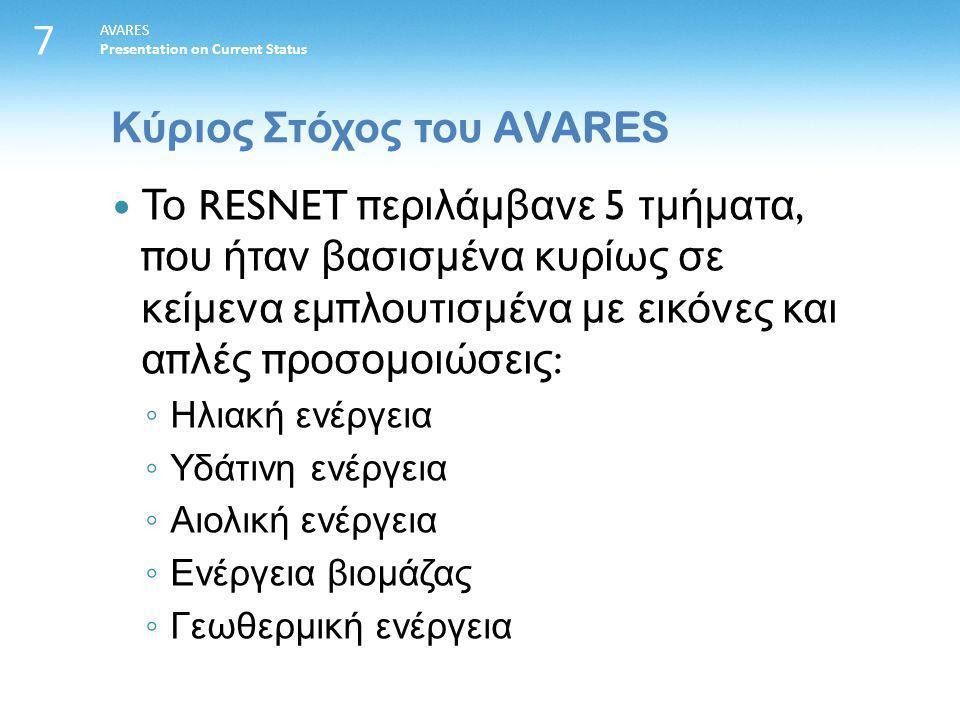 7 AVARES Presentation on Current Status Το RESNET π εριλάμβανε 5 τμήματα, π ου ήταν βασισμένα κυρίως σε κείμενα εμ π λουτισμένα με εικόνες και α π λές π ροσομοιώσεις : ◦ Ηλιακή ενέργεια ◦ Υδάτινη ενέργεια ◦ Αιολική ενέργεια ◦ Ενέργεια βιομάζας ◦ Γεωθερμική ενέργεια Κύριος Στόχος του AVARES