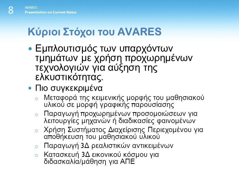 8 AVARES Presentation on Current Status Εμ π λουτισμός των υ π αρχόντων τμημάτων με χρήση π ροχωρημένων τεχνολογιών για αύξηση της ελκυστικότητας.