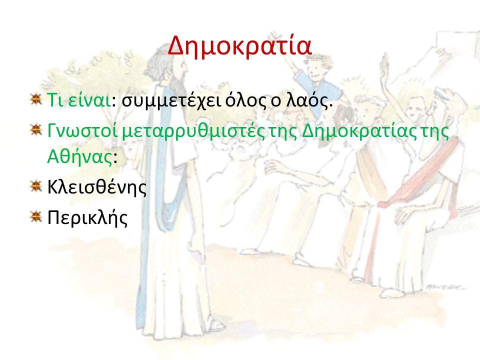 Δημοκρατία Τι είναι: συμμετέχει όλος ο λαός. Γνωστοί μεταρρυθμιστές της Δημοκρατίας της Αθήνας: Κλεισθένης Περικλής