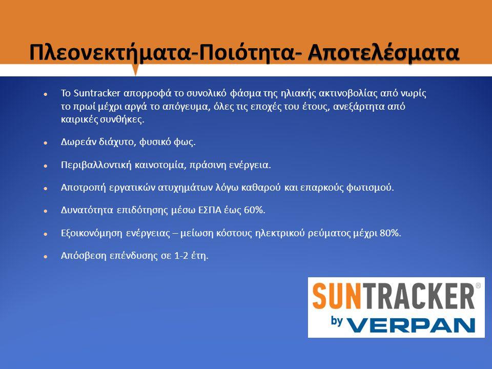 Το Suntracker απορροφά το συνολικό φάσμα της ηλιακής ακτινοβολίας από νωρίς το πρωί μέχρι αργά το απόγευμα, όλες τις εποχές του έτους, ανεξάρτητα από