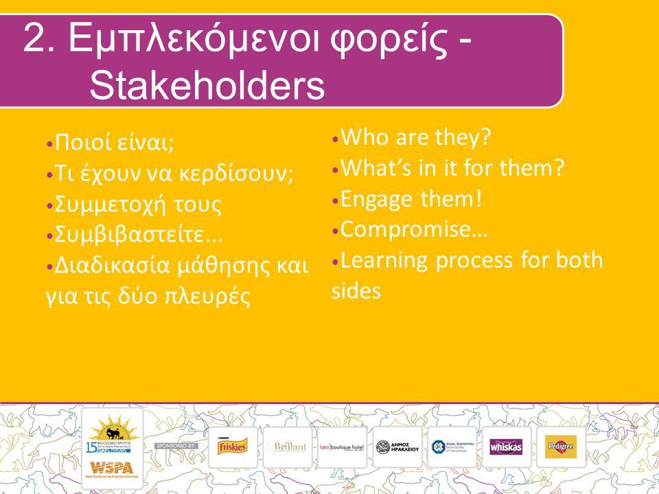 2.Εμπλεκόμενοι φορείς - Stakeholders Who are they.