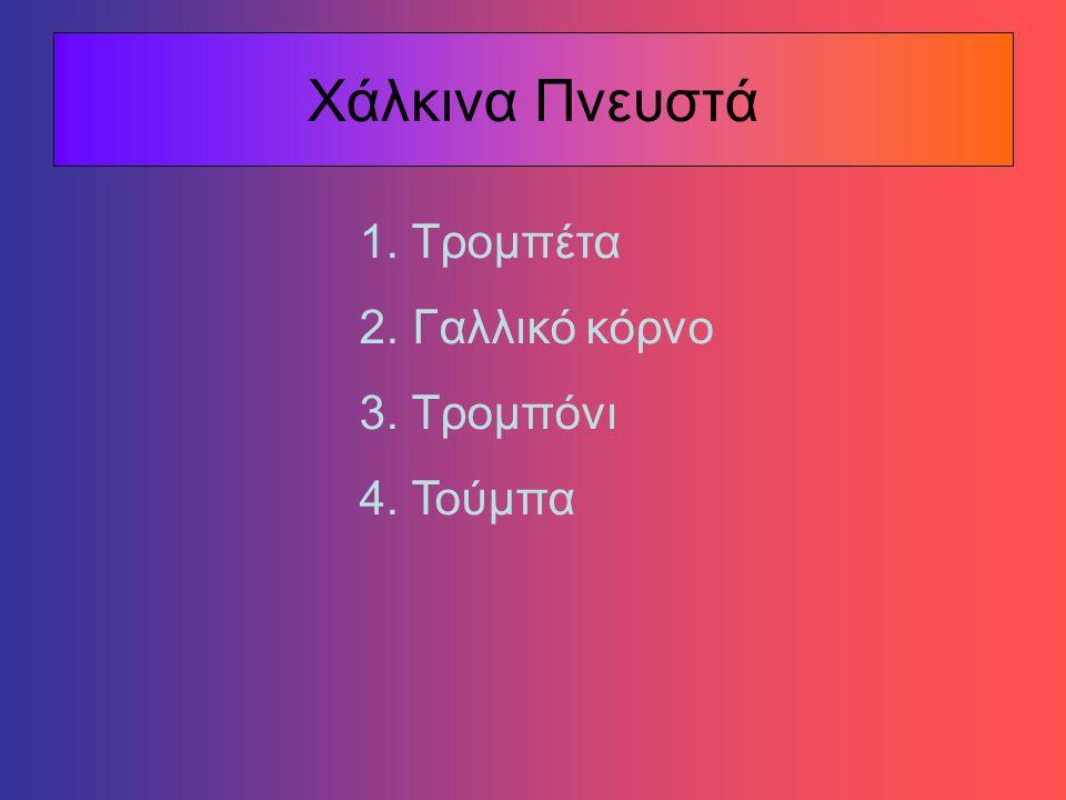 Ξύλινα Πνευστά 1. Φλάουτο 2. Πίκολο 3. Κλαρινέτο 4. Όμποε 5. Φαγκότο 6. Αγγλικό κόρνο 7. Σαξόφωνο