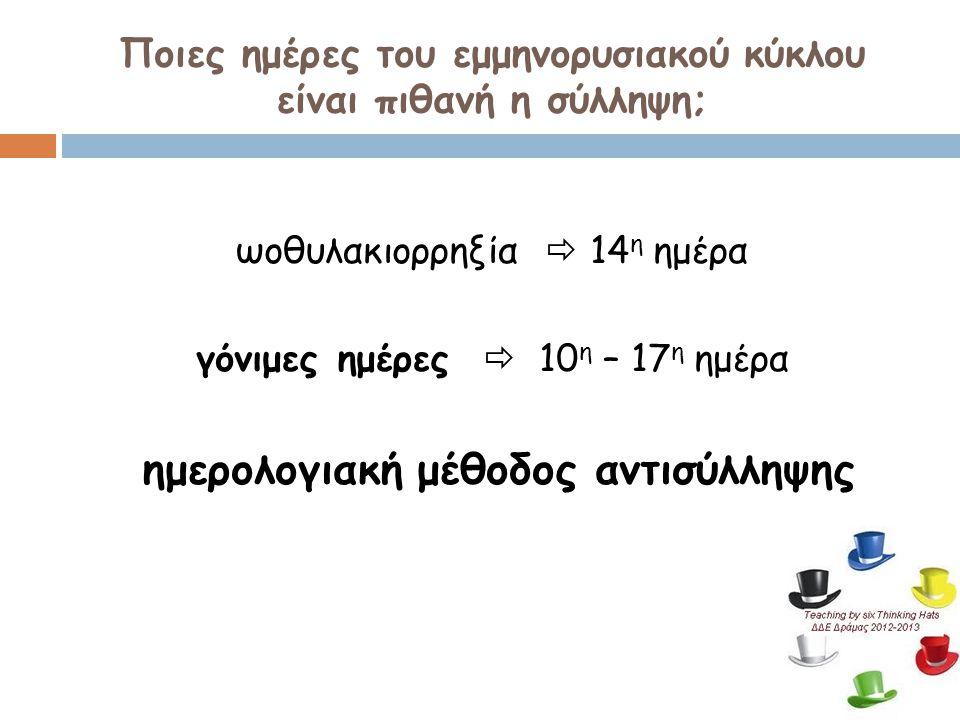 Ποιες ημέρες του εμμηνορυσιακού κύκλου είναι πιθανή η σύλληψη; ωοθυλακιορρηξία  14 η ημέρα γόνιμες ημέρες  10 η – 17 η ημέρα ημερολογιακή μέθοδος αν