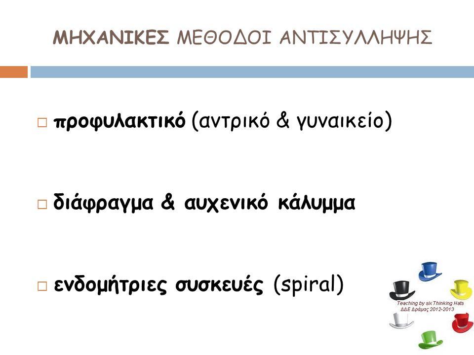 ΜΗΧΑΝΙΚΕΣ ΜΕΘΟΔΟΙ ΑΝΤΙΣΥΛΛΗΨΗΣ  προφυλακτικό (αντρικό & γυναικείο)  διάφραγμα & αυχενικό κάλυμμα  ενδομήτριες συσκευές (spiral)