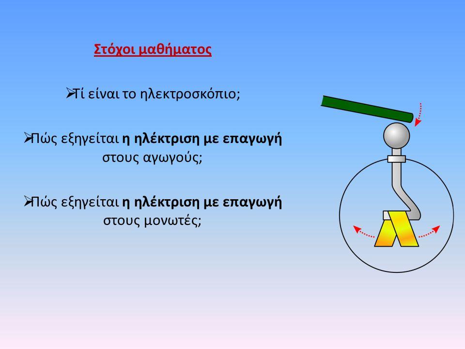 Στόχοι μαθήματος  Τί είναι το ηλεκτροσκόπιο;  Πώς εξηγείται η ηλέκτριση με επαγωγή στους αγωγούς;  Πώς εξηγείται η ηλέκτριση με επαγωγή στους μονωτ