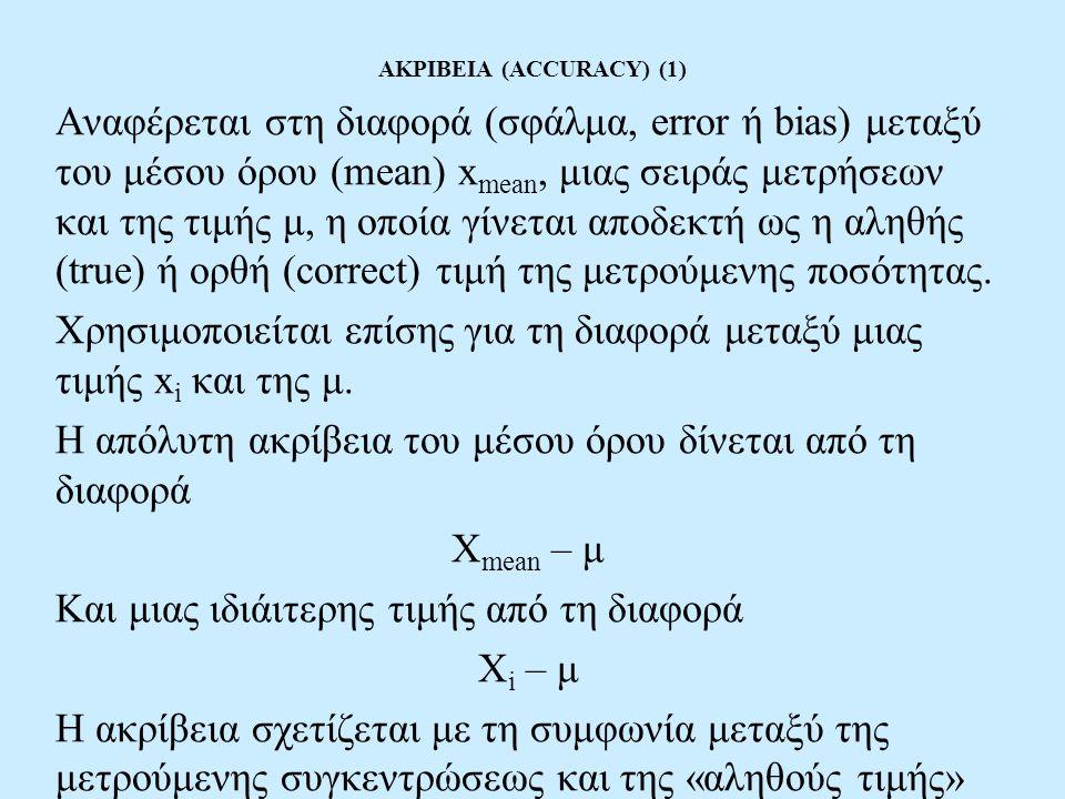 ΑΚΡΙΒΕΙΑ (ACCURACY) (1) Αναφέρεται στη διαφορά (σφάλμα, error ή bias) μεταξύ του μέσου όρου (mean) x mean, μιας σειράς μετρήσεων και της τιμής μ, η οπ