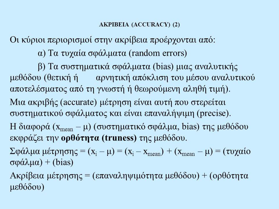 ΑΚΡΙΒΕΙΑ (ACCURACY) (3) ΟΛΙΚΟ ΣΦΑΛΜΑ (TOTAL ERROR) X mean – μ = συστηματικό σφάλμα (bias) μέτρο ορθότητας μεθόδου S = τυπική απόκλιση μεθόδου, μέτρο επαναληψιμότητας Η αποδεκτή τιμή μ μπορεί να ληφθεί: -Από υλικό αναφοράς (reference material) γνωστής ή γενικά αποδεκτής σύνθεσης -Από ειδικά παρασκευασμένο (εμβολιασμένο, spiked) δείγμα -Από τα αποτελέσματα μιας άλλης μεθόδου, γνωστής ακρίβειας και επαναληψιμότητας