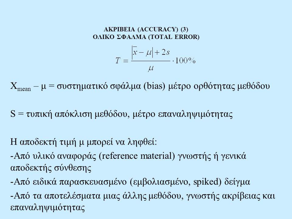 ΑΚΡΙΒΕΙΑ (ACCURACY) (3) ΟΛΙΚΟ ΣΦΑΛΜΑ (TOTAL ERROR) X mean – μ = συστηματικό σφάλμα (bias) μέτρο ορθότητας μεθόδου S = τυπική απόκλιση μεθόδου, μέτρο ε