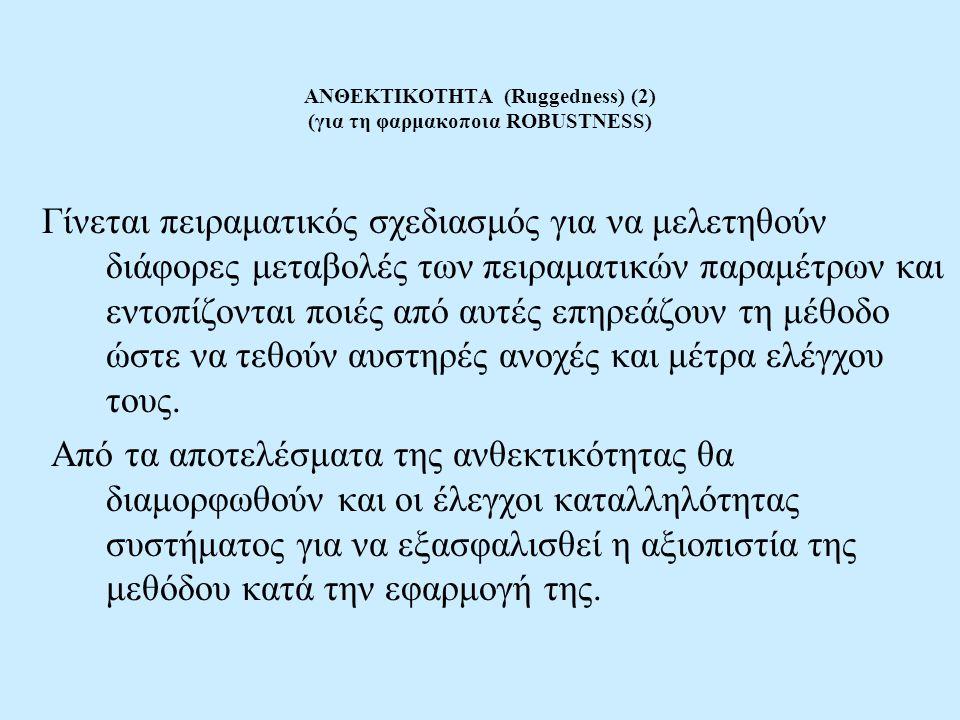 ΑΝΘΕΚΤΙΚΟΤΗΤΑ (Ruggedness) (2) (για τη φαρμακοποια ROBUSTNESS) Γίνεται πειραματικός σχεδιασμός για να μελετηθούν διάφορες μεταβολές των πειραματικών π