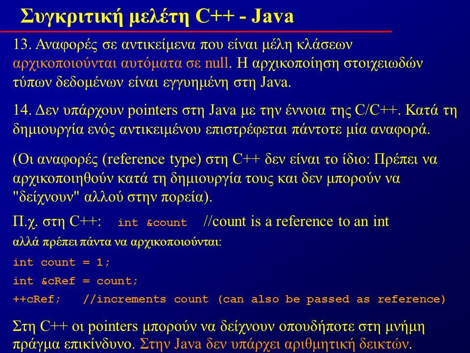 Συγκριτική μελέτη C++ - Java 13.