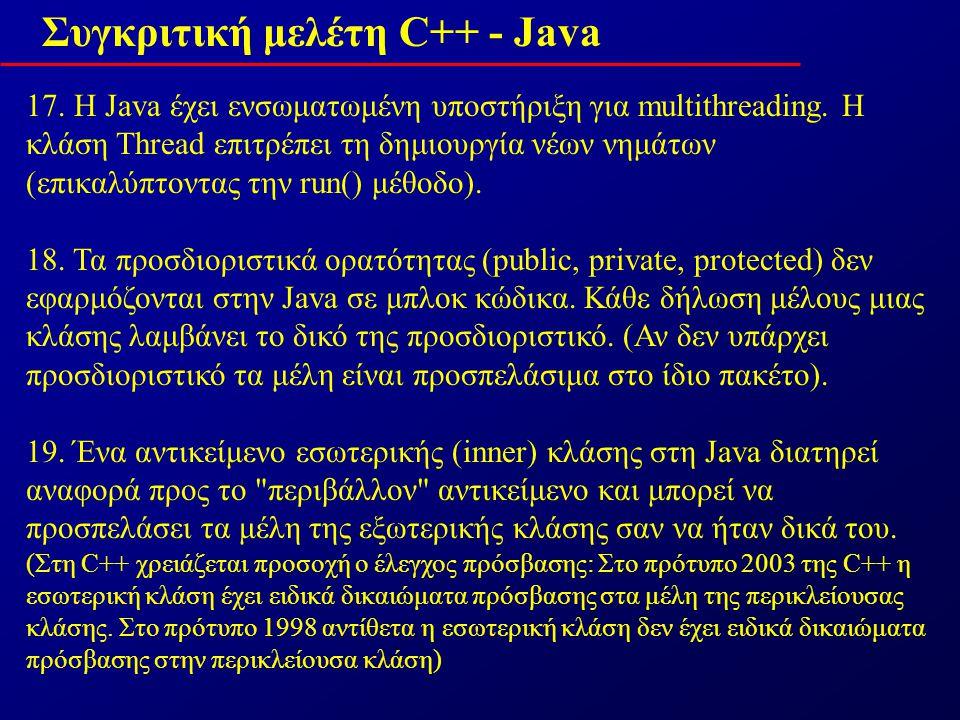 Συγκριτική μελέτη C++ - Java 17. H Java έχει ενσωματωμένη υποστήριξη για multithreading.