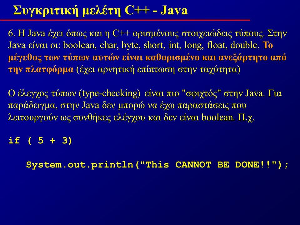 Συγκριτική μελέτη C++ - Java 6. Η Java έχει όπως και η C++ ορισμένους στοιχειώδεις τύπους.