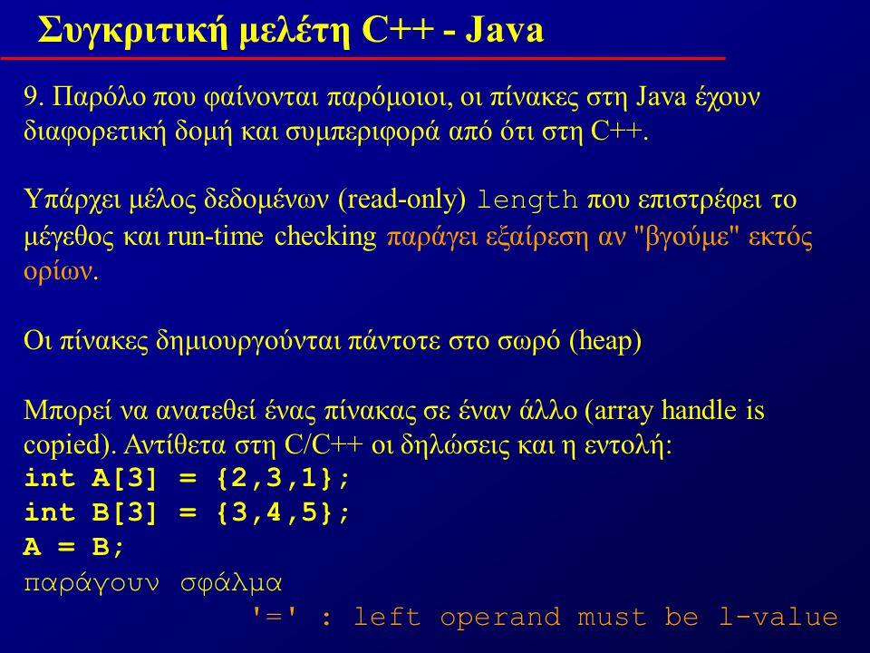 Συγκριτική μελέτη C++ - Java 10.