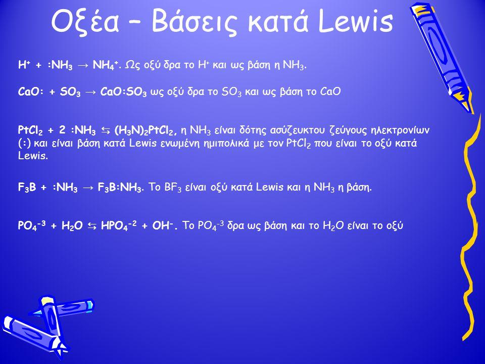 Οξέα – Βάσεις κατά Lewis H + + :NH 3 → NH 4 +.Ως οξύ δρα το Η + και ως βάση η ΝΗ 3.