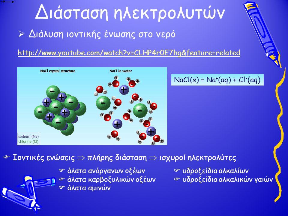 Διάσταση ηλεκτρολυτών http://www.youtube.com/watch?v=CLHP4r0E7hg&feature=related  Διάλυση ιοντικής ένωσης στο νερό  Ιοντικές ενώσεις  πλήρης διάσταση  ισχυροί ηλεκτρολύτες  άλατα ανόργανων οξέων  υδροξείδια αλκαλίων  άλατα καρβοξυλικών οξέων  υδροξείδια αλκαλικών γαιών  άλατα αμινών NaCl(s) = Na + (aq) + Cl - (aq)