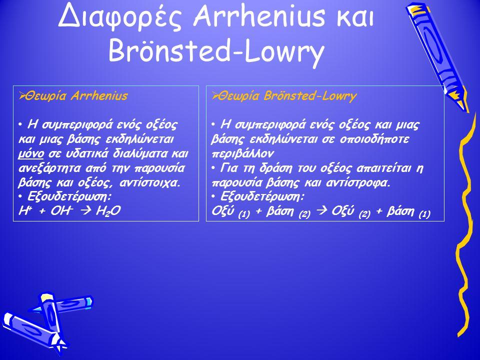 Διαφορές Arrhenius και Brönsted-Lowry  Θεωρία Arrhenius Η συμπεριφορά ενός οξέος και μιας βάσης εκδηλώνεται μόνο σε υδατικά διαλύματα και ανεξάρτητα από την παρουσία βάσης και οξέος, αντίστοιχα.