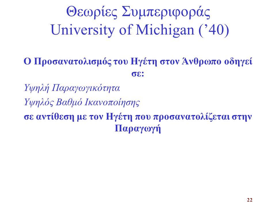 22 Θεωρίες Συμπεριφοράς University of Michigan ('40) Ο Προσανατολισμός του Ηγέτη στον Άνθρωπο οδηγεί σε: Υψηλή Παραγωγικότητα Υψηλός Βαθμό Ικανοποίησης σε αντίθεση με τον Ηγέτη που προσανατολίζεται στην Παραγωγή