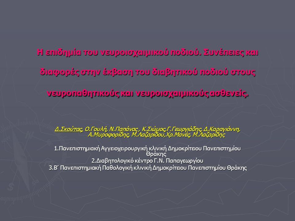 Εισαγωγή ► Η αντιμετώπιση του νευροϊσχαιμικού ασθενούς από την ομάδα του διαβητικού ποδιού σύμφωνα με τη βιβλιογραφία και τη καθημέρα πράξη είναι σαφώς πιο δύσκολη, πιο περίπλοκη από το νευροπαθητικό διαβητικό ασθενή με βλάβη στα κάτω άκρα.
